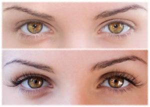 kobiece oczy po przedłużeniu rzęs